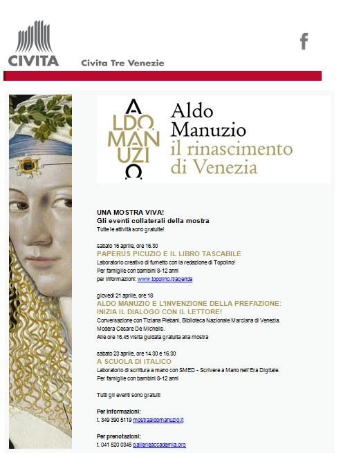 Appuntamenti veneziani, mese di aprile 2016