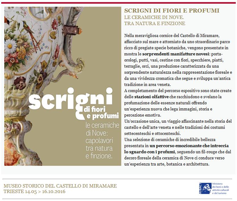 SCRIGNI DI FIORI E PROFUMI, dal 14 maggio 2016 al Castello di Miramare di Trieste