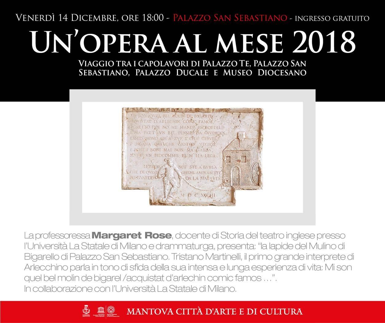 UN'OPERA AL MESE 2018 – Primo appuntamento: La lapide del Mulino di Bigarello di Palazzo San Sebastiano