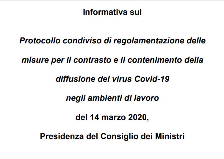 Informativa sul Protocollo per il contenimento del virus Covid-19